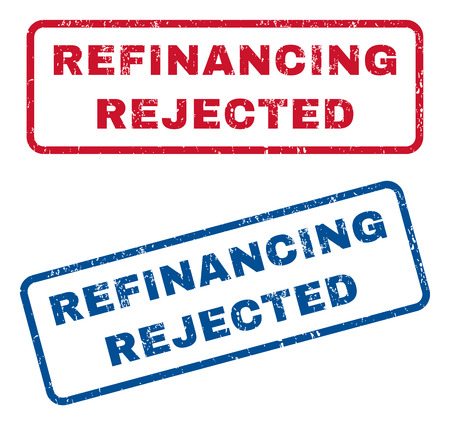 refinancing: Refinancing Rejected text rubber seal stamp watermarks. Vector style is blue and red ink caption inside rounded rectangular shape. Grunge design and dust texture. Blue and red emblems.