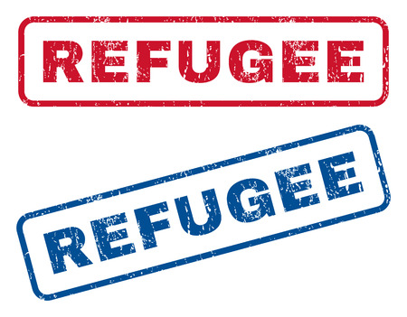 refuge: Refugee text rubber seal stamp watermarks. Vector style is blue and red ink tag inside rounded rectangular banner. Grunge design and unclean texture. Blue and red signs. Illustration