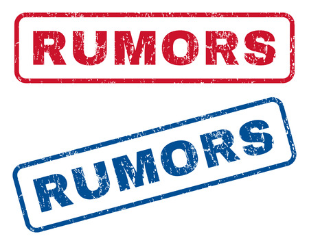 supposition: Rumors text rubber seal stamp watermarks. Vector style is blue and red ink tag inside rounded rectangular banner. Grunge design and dirty texture. Blue and red signs.