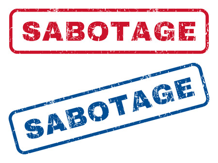 sabotage: Sabotage text rubber seal stamp watermarks. Vector style is blue and red ink caption inside rounded rectangular shape. Grunge design and dirty texture. Blue and red emblems.