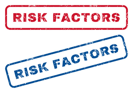 Risk Factors text rubber seal stamp watermarks. Vector style is blue and red ink caption inside rounded rectangular shape. Grunge design and dirty texture. Blue and red signs.