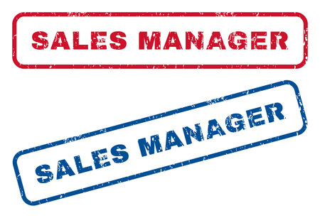 sales manager: Sales Manager text rubber seal stamp watermarks. Vector style is blue and red ink tag inside rounded rectangular shape. Grunge design and scratched texture. Blue and red signs.