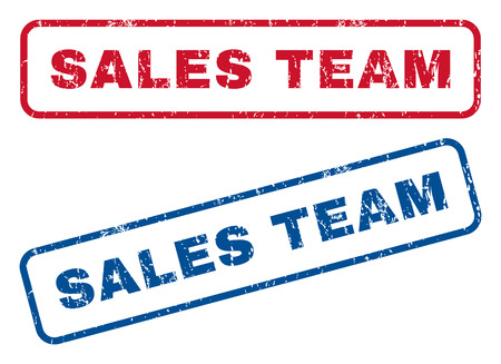 sales team: Sales Team text rubber seal stamp watermarks. Vector style is blue and red ink caption inside rounded rectangular banner. Grunge design and unclean texture. Blue and red emblems.