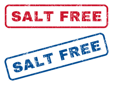 salt free: Salt Free text rubber seal stamp watermarks. Vector style is blue and red ink caption inside rounded rectangular shape. Grunge design and scratched texture. Blue and red emblems.