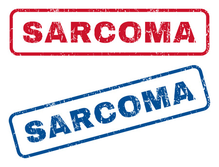 sarcoma: Sarcoma text rubber seal stamp watermarks. Vector style is blue and red ink tag inside rounded rectangular shape. Grunge design and scratched texture. Blue and red stickers.