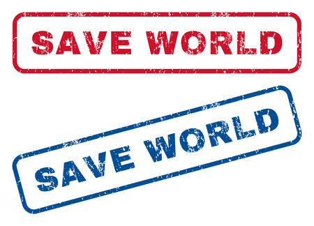 save the world: Save World text rubber seal stamp watermarks. Vector style is blue and red ink caption inside rounded rectangular banner. Grunge design and unclean texture. Blue and red emblems. Illustration