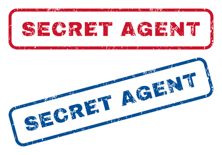 secret agent: Secret Agent text rubber seal stamp watermarks. Vector style is blue and red ink caption inside rounded rectangular banner. Grunge design and unclean texture. Blue and red signs.