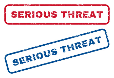 threat: Serious Threat text rubber seal stamp watermarks. Vector style is blue and red ink caption inside rounded rectangular banner. Grunge design and dirty texture. Blue and red stickers. Illustration