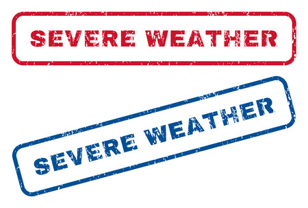 severe weather: Severe Weather text rubber seal stamp watermarks. Vector style is blue and red ink tag inside rounded rectangular shape. Grunge design and dust texture. Blue and red emblems. Illustration