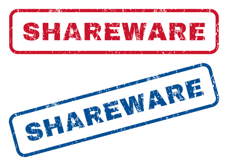 shareware: Shareware text rubber seal stamp watermarks. Vector style is blue and red ink tag inside rounded rectangular shape. Grunge design and unclean texture. Blue and red emblems.