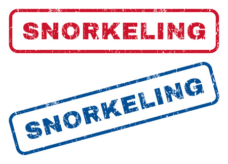 snorkeling: Snorkeling text rubber seal stamp watermarks. Vector style is blue and red ink tag inside rounded rectangular shape. Grunge design and dirty texture. Blue and red signs.