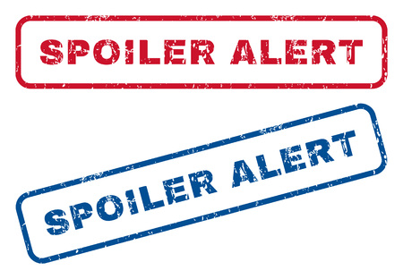 spoiler: Spoiler Alert text rubber seal stamp watermarks. Vector style is blue and red ink caption inside rounded rectangular shape. Grunge design and dirty texture. Blue and red signs. Illustration