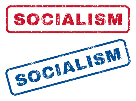 socialism: Socialism text rubber seal stamp watermarks. Vector style is blue and red ink tag inside rounded rectangular shape. Grunge design and dirty texture. Blue and red emblems.