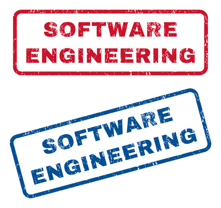 Software Engineering text rubber seal stamp watermarks. Vector style is blue and red ink caption inside rounded rectangular shape. Grunge design and scratched texture. Blue and red signs.