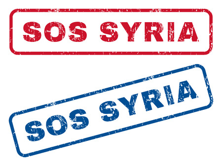 disaster relief: Sos Syria text rubber seal stamp watermarks. Vector style is blue and red ink caption inside rounded rectangular banner. Grunge design and unclean texture. Blue and red signs.