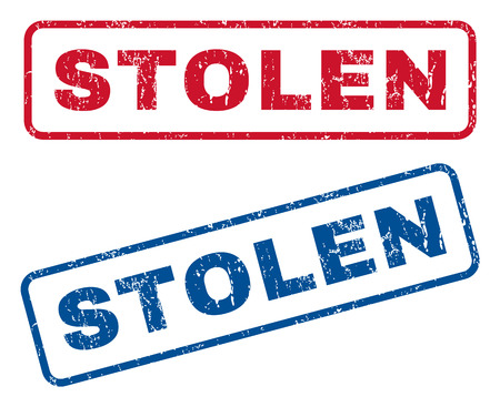 hijacked: Stolen text rubber seal stamp watermarks. Vector style is blue and red ink tag inside rounded rectangular banner. Grunge design and dust texture. Blue and red emblems.