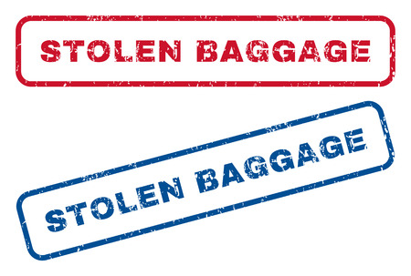 robbed: Stolen Baggage text rubber seal stamp watermarks. Vector style is blue and red ink tag inside rounded rectangular banner. Grunge design and dust texture. Blue and red stickers.