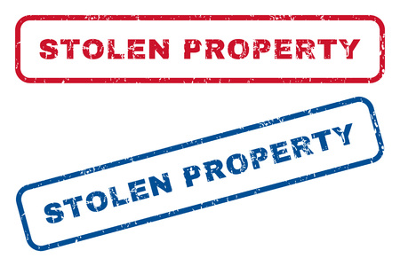 robbed: Stolen Property text rubber seal stamp watermarks. Vector style is blue and red ink tag inside rounded rectangular banner. Grunge design and dust texture. Blue and red stickers. Illustration