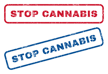 Stop Cannabis text rubber seal stamp watermarks. Vector style is blue and red ink tag inside rounded rectangular banner. Grunge design and dirty texture. Blue and red emblems. Ilustração