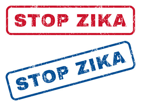 quarantine: Stop Zika text rubber seal stamp watermarks. Vector style is blue and red ink caption inside rounded rectangular banner. Grunge design and dust texture. Blue and red emblems. Illustration