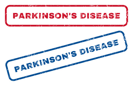 parkinson's disease: ParkinsonS Disease text rubber seal stamp watermarks. Vector style is blue and red ink caption inside rounded rectangular shape. Grunge design and dust texture. Blue and red emblems. Illustration