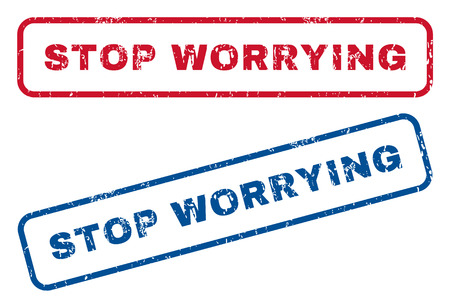 worrying: Stop Worrying text rubber seal stamp watermarks. Vector style is blue and red ink caption inside rounded rectangular shape. Grunge design and scratched texture. Blue and red signs. Illustration