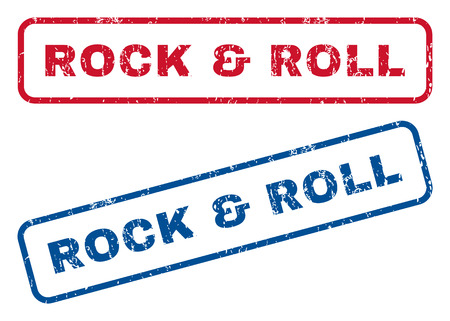 rock and roll: Rock & Roll text rubber seal stamp watermarks. Vector style is blue and red ink tag inside rounded rectangular shape. Grunge design and unclean texture. Blue and red emblems.