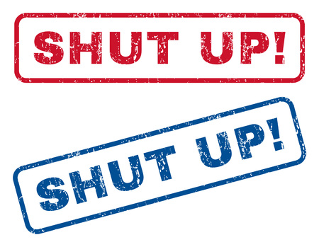 shut up: Shut Up! text rubber seal stamp watermarks. Vector style is blue and red ink caption inside rounded rectangular banner. Grunge design and dirty texture. Blue and red emblems.