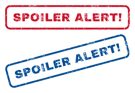 spoiler: Spoiler Alert! text rubber seal stamp watermarks. Vector style is blue and red ink tag inside rounded rectangular shape. Grunge design and dirty texture. Blue and red emblems.