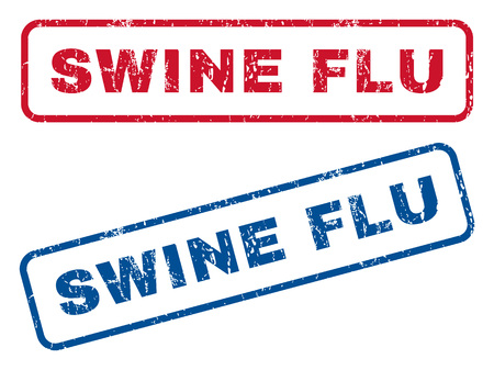 swine flu: Swine Flu text rubber seal stamp watermarks. Vector style is blue and red ink tag inside rounded rectangular banner. Grunge design and dust texture. Blue and red emblems.