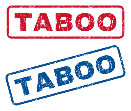 proscribed: Taboo text rubber seal stamp watermarks. Vector style is blue and red ink caption inside rounded rectangular banner. Grunge design and scratched texture. Blue and red stickers. Illustration