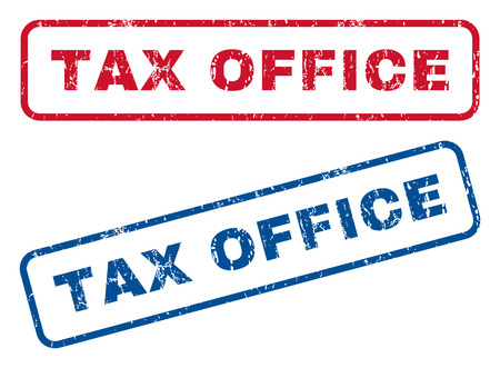 tax office: Tax Office text rubber seal stamp watermarks. Vector style is blue and red ink caption inside rounded rectangular shape. Grunge design and scratched texture. Blue and red signs.