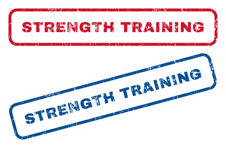 strength training: Strength Training text rubber seal stamp watermarks. Vector style is blue and red ink caption inside rounded rectangular shape. Grunge design and unclean texture. Blue and red signs.