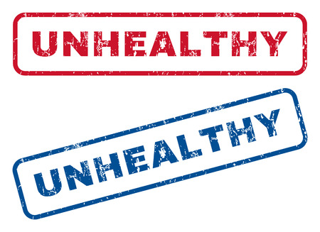 Unhealthy text rubber seal stamp watermarks. Vector style is blue and red ink tag inside rounded rectangular shape. Grunge design and scratched texture. Blue and red emblems.