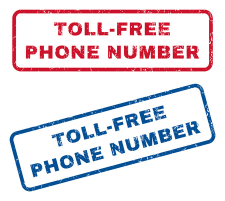 toll free: Toll-Free Phone Number text rubber seal stamp watermarks. Vector style is blue and red ink caption inside rounded rectangular shape. Grunge design and unclean texture. Blue and red stickers.