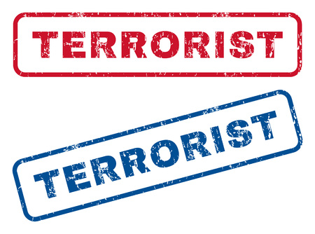 heretic: Terrorist text rubber seal stamp watermarks. Vector style is blue and red ink caption inside rounded rectangular banner. Grunge design and dirty texture. Blue and red stickers.