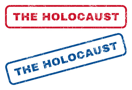 The Holocaust text rubber seal stamp watermarks. Vector style is blue and red ink tag inside rounded rectangular banner. Grunge design and unclean texture. Blue and red emblems. Illustration