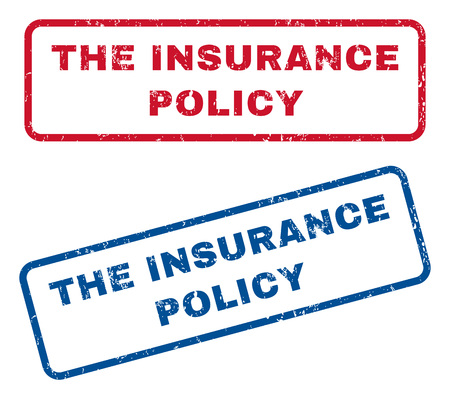 insurance policy: The Insurance Policy text rubber seal stamp watermarks. Vector style is blue and red ink tag inside rounded rectangular banner. Grunge design and scratched texture. Blue and red signs.