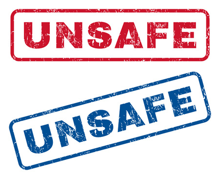 unsafe: Unsafe text rubber seal stamp watermarks. Vector style is blue and red ink tag inside rounded rectangular shape. Grunge design and dirty texture. Blue and red stickers.
