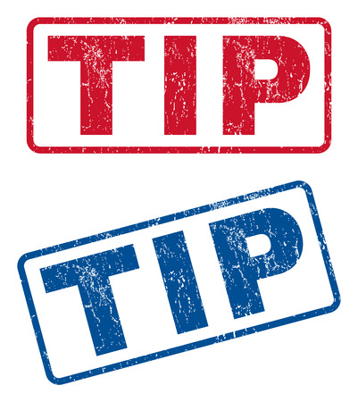 tip style design: Tip text rubber seal stamp watermarks. Vector style is blue and red ink caption inside rounded rectangular shape. Grunge design and unclean texture. Blue and red stickers.