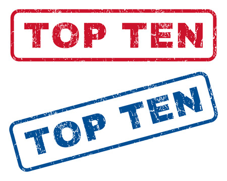 top ten: Top Ten text rubber seal stamp watermarks. Vector style is blue and red ink caption inside rounded rectangular banner. Grunge design and dirty texture. Blue and red emblems.