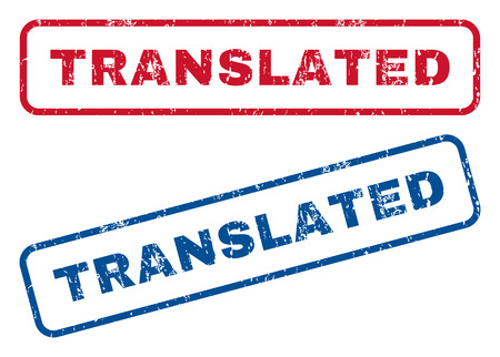 Translated text rubber seal stamp watermarks. Vector style is blue and red ink caption inside rounded rectangular shape. Grunge design and scratched texture. Blue and red emblems.