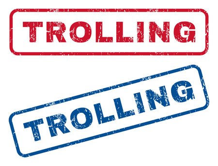 trolling: Trolling text rubber seal stamp watermarks. Vector style is blue and red ink caption inside rounded rectangular banner. Grunge design and dust texture. Blue and red stickers.
