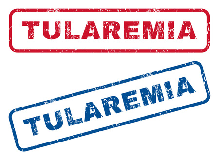 outbreak: Tularemia text rubber seal stamp watermarks. Vector style is blue and red ink tag inside rounded rectangular shape. Grunge design and unclean texture. Blue and red stickers.