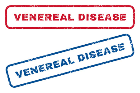 venereal: Venereal Disease text rubber seal stamp watermarks. Vector style is blue and red ink caption inside rounded rectangular banner. Grunge design and scratched texture. Blue and red signs.