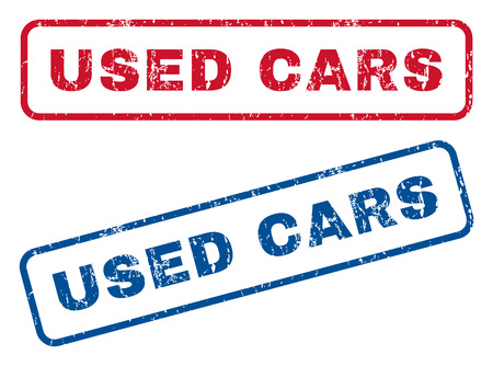 used: Used Cars text rubber seal stamp watermarks. Vector style is blue and red ink tag inside rounded rectangular banner. Grunge design and dust texture. Blue and red emblems. Illustration
