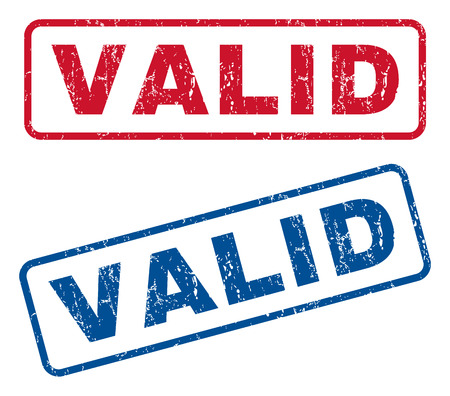 valid: Valid text rubber seal stamp watermarks. Vector style is blue and red ink tag inside rounded rectangular shape. Grunge design and unclean texture. Blue and red stickers.