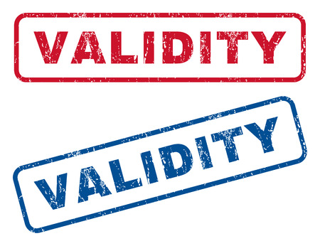 validez: Validity text rubber seal stamp watermarks. Vector style is blue and red ink caption inside rounded rectangular banner. Grunge design and dust texture. Blue and red stickers.