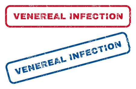 venereal: Venereal Infection text rubber seal stamp watermarks. Vector style is blue and red ink caption inside rounded rectangular shape. Grunge design and scratched texture. Blue and red signs. Illustration