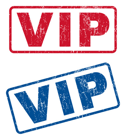honored: Vip text rubber seal stamp watermarks. Vector style is blue and red ink caption inside rounded rectangular banner. Grunge design and unclean texture. Blue and red emblems. Illustration